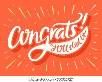Congrats! You Did It! Congratulations card.