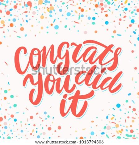 congrats you did it congratulations sign stock vector royalty free