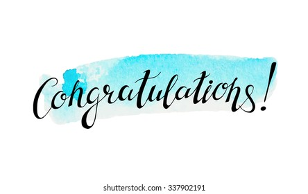 Congratulation banner with abstract watercolor background