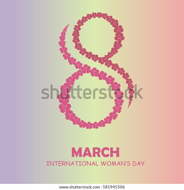 Congratulation card 8 March International Woman's Day, pink sakura flowers on pink, yellow violet gradient, typography banner stock vector illustration