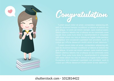 Congratulation card with a cute girl standing on top of books and holding a certificate, happy girl graduated, invitation card design vector illustration.