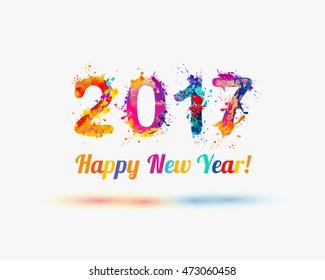 Congratulation card. Happy New Year 2017