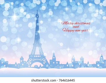 congratulation card, silhouette of snowing  winter town,  light blue and pink sky, snowfall, vector illustration
