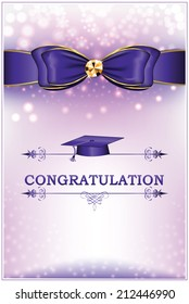 Congratulation - Graduation greeting card. Printable graduation card with blue ribbon (bow), text decoration and a graduation Cap. CMYK colors; standard card for print: A7