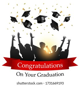 Congratulation for graduation A Group of People with Sunlight Behind Flying Graduation Hats with Gold Confetti Floating in The Air, Red Ribbon, Blue Sky Background Vector Graphics Horizontal Banner