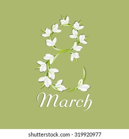 Congratulation or greeting card for international  happy women's day. 8 March. Background with snowdrops. Vector, EPS 10