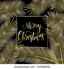 Congratulation Merry Christmas! Tropical Christmas card for your design. Holiday background. Vector illustration.