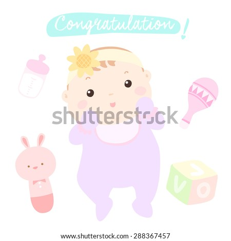 congratulation new little baby girl vector illustration