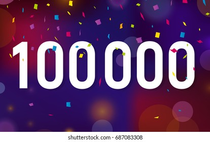 Congratulations 100K followers, one hundred thousand followers. Thanks banner background with confetti. Vector illustration