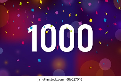 Congratulations 1K followers thanks banner background with confetti. Vector illustration