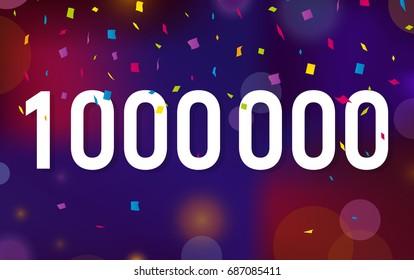 Congratulations 1KK followers, one million followers. Thanks banner background with confetti. Vector illustration