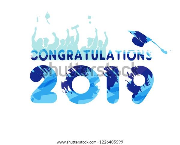 Congratulations 2018 Graduation Mortar Water Colors Stock