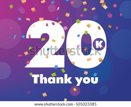 congratulations 20 k followers thanks banner background stock vector