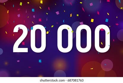 Congratulations 20K followers, twenty thousand followers. Thanks banner background with confetti. Vector illustration