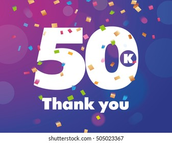 Congratulations 50K followers thanks banner background with confetti