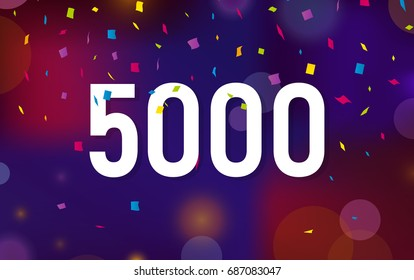Congratulations 5K followers, five thousand followers. Thanks banner background with confetti. Vector illustration
