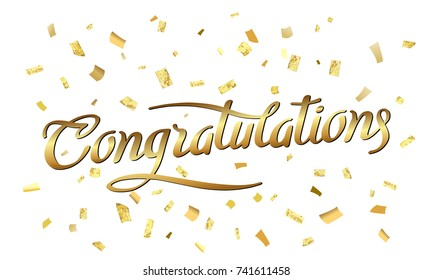 Congratulations. Abstract pattern of random gold confetti with calligraphy lettering. Hand drawn invitation. Handwritten modern brush lettering. Colorful celebration background with gold confetti.
