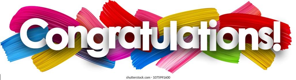 Herzlichen Glückwunsch Banner mit bunten Wasserfarben Pinselstriche. Vektorgrafik.