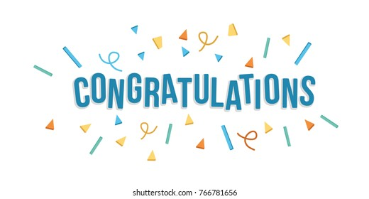 Congratulations banner with confetti. Fun style. Vector illustration flat design.