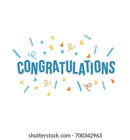 Congratulations banner with confetti. Vector illustration flat design.