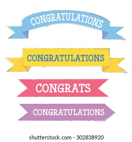 Congratulations banner in different colors