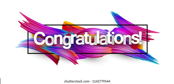 Congratulations banner with spectrum brush strokes on white background. Colorful gradient brush design. Vector paper illustration.