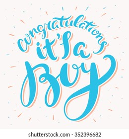 Congratulations, it's a boy. Greeting card.
