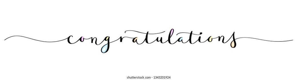 CONGRATULATIONS brush calligraphy banner with watercolor infill