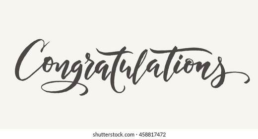 Congratulations calligraphy. Hand written text. Lettering. Calligraphic banner.