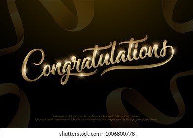 Congratulations. Calligraphy Lettering. Handwritten phrase with golden text on dark background