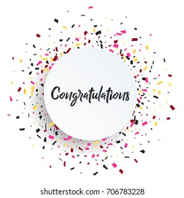 Congratulations card. Beautiful greeting scratched calligraphy black text word. Handwritten modern brush lettering white background isolated vector.