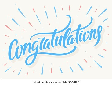 Congratulations card. Hand lettering.