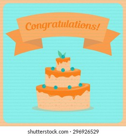 Congratulations! card in retro design. Vector graphic. Big cake with blueberries.
