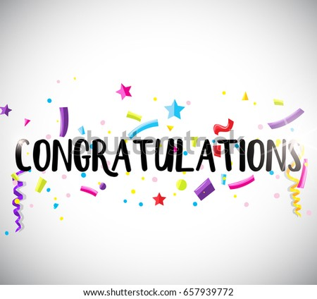 Congratulations Card Template Ribbons Illustration Stock Vector