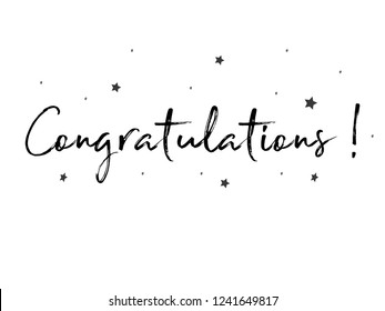Congratulations card. Typography, Lettering, Handwritten, vector for greeting. Modern brush calligraphy Handwritten phrase of Congratulations.