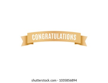 Congratulations Celebration Ribbon Vector Text Background