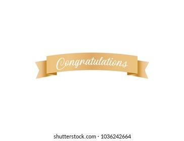 Congratulations Celebration Ribbon Vector Text Background