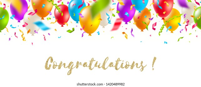 Congratulations - celebratory greeting banner - multicolored balloons and confetti. Vector festive illustration. Holiday design.
