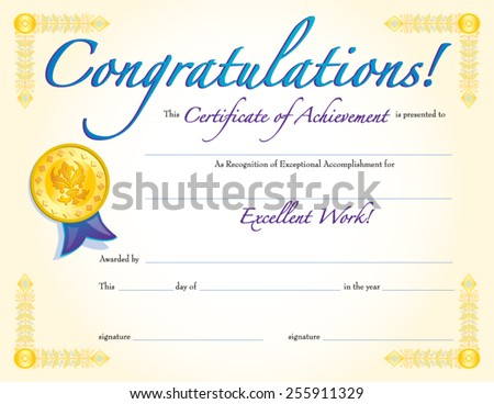 CONGRATULATIONS CERTIFICATE ACHIEVEMENT Stock Vector (Royalty Free ...