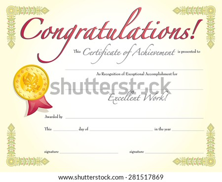 congratulations certificate of achievement red ribbon
