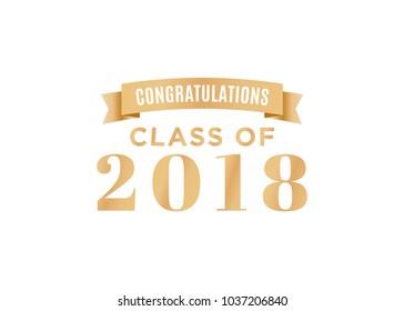 Congratulations Class of 2018 Vector Text Background