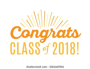 Congratulations Class of 2018 Vector Text Icon Background Illustration