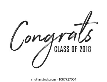 Congratulations Class of 2018 Vector Text Icon Background Illustration for Greeting Cards, Posters, Flyers, Social Media