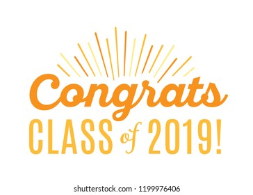 Congratulations Class of 2019 Vector Text Icon Background Illustration