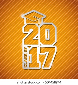 congratulations classof 2017 card vector illustration design