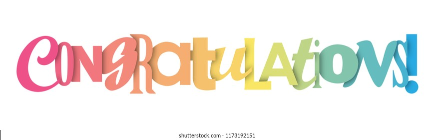 CONGRATULATIONS colorful vector letters banner
