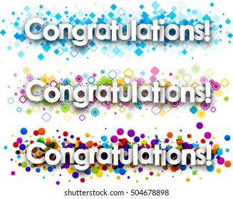 Congratulations colour banners set. Vector paper illustration.