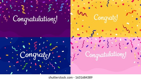 Congratulations confetti banner. Congrats card with color confetti, congratulation lettering banners vector set. Bundle of modern poster or postcard templates for anniversary or birthday celebration.