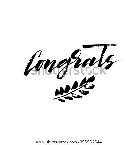 congratulations congrats card hand drawn brush のベクター画像素材