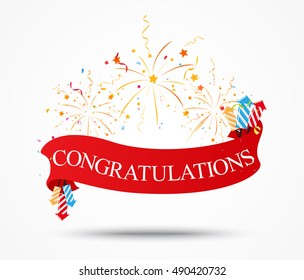Congratulations design with fireworks and ribbon